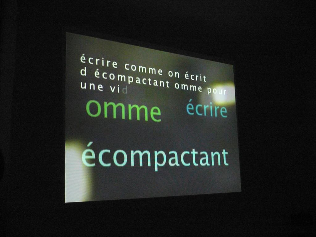 lecture et projection de Jérôme Game bascule oratoire printemps des poètes la station
